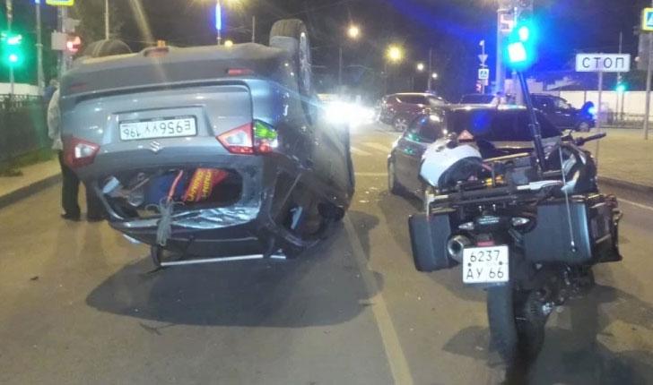 В Екатеринбурге водитель Suzuki устроил два ДТП