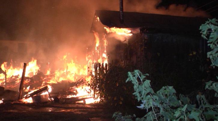 Крупный пожар в Берёзовском